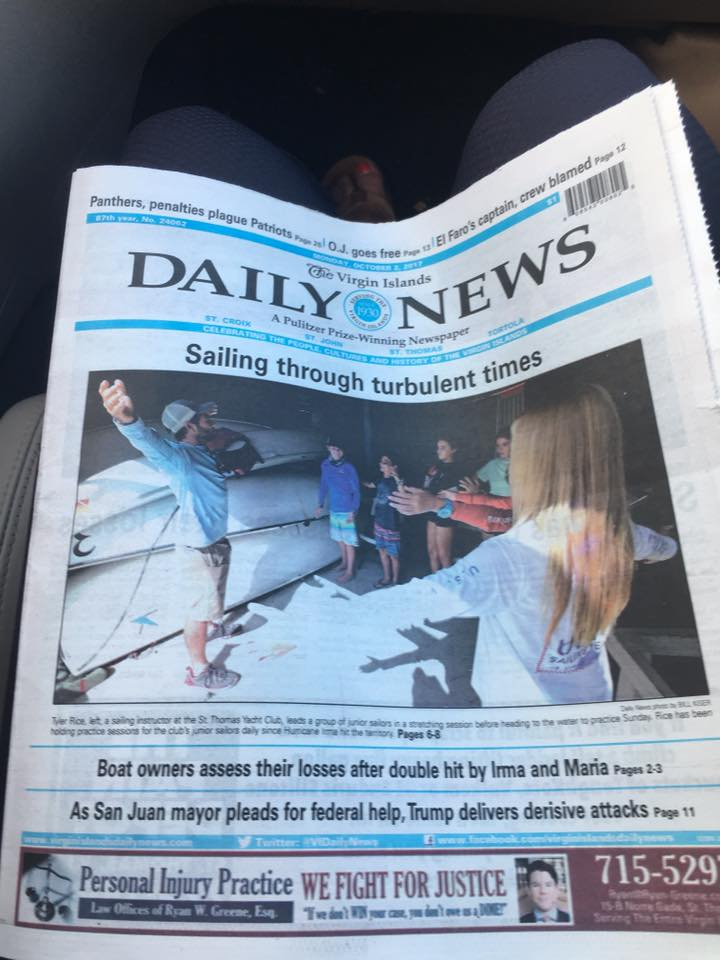 Publication about the Bow Sailing in Daily News (Virgin Islands)