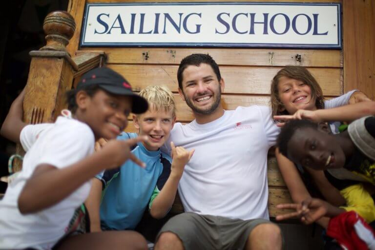 Tyler Rice, founder of Bow Sailing, with his students.